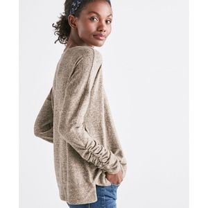 Lucky Brand | Oatmeal Ruched Sleeve Soft Sweater